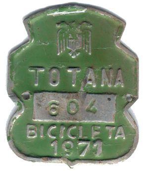 Matricula de Bicicleta de Totana (Murcia) 1971