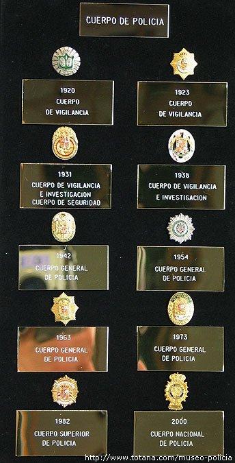Placas pecho Policia Nacional<br>Distintas Epocas (1920-2004)