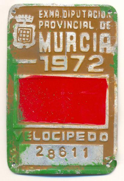 Placa Matricula Velocipedo Murcia 1972