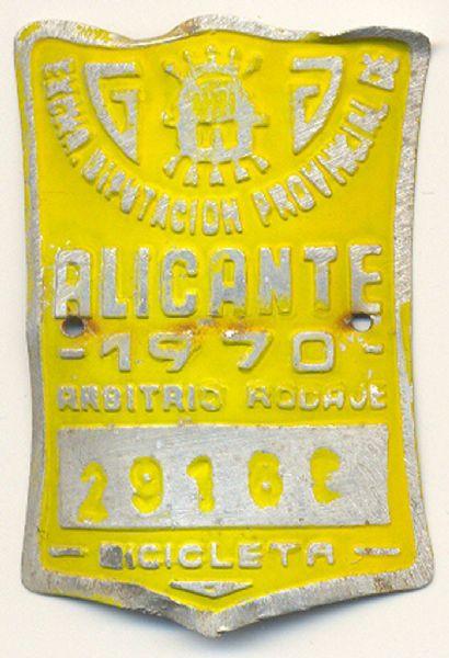 Placa de Matricula Bicicleta Alicante 1970 (España)