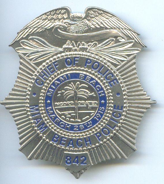 Placa Metalica de Pecho Policia de Miami Beach (U.S.A.)