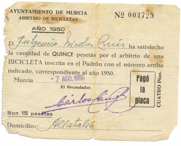 Documento antiguo de Arbitrio Bicicletas 1950 Ayuntamiento de Murcia