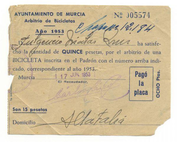 Documento antiguo de Arbitrio Bicicletas 1953 Ayuntamiento de Murcia
