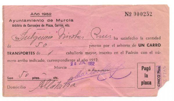 Documento antiguo de Arbitrio de Carruajes 1952 Ayuntamiento de Murcia
