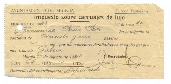 Impuesto sobre Carruajes de Lujo 1943 Ayuntamiento de Murcia