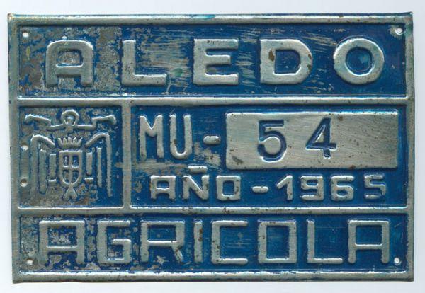 Placa de Matricula Agricola de Aledo (Murcia)