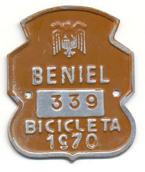 Placa de Matricula Bicicleta Beniel (Murcia) 1970 (España)