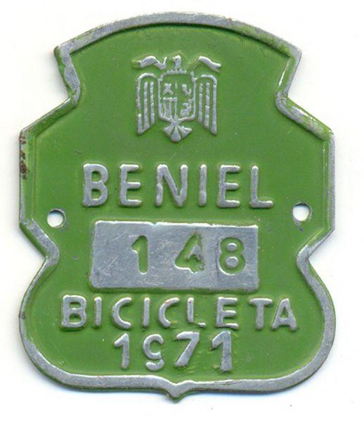 Placa de Matricula Bicicleta Beniel (Murcia) 1971 (España)