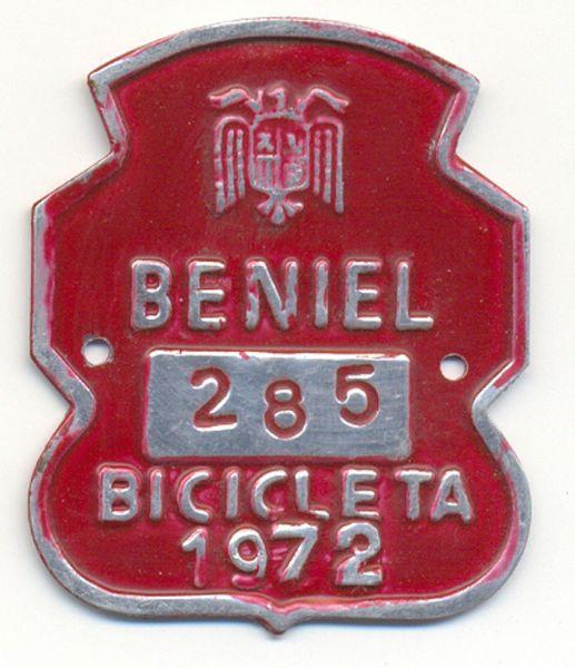 Placa de Matricula Bicicleta Beniel (Murcia) 1972 (España)