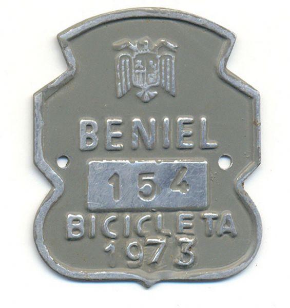 Placa de Matricula Bicicleta Beniel (Murcia) 1973 (España)