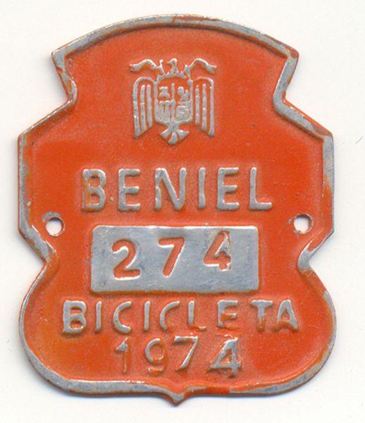 Placa de Matricula Bicicleta Beniel (Murcia) 1974 (España)