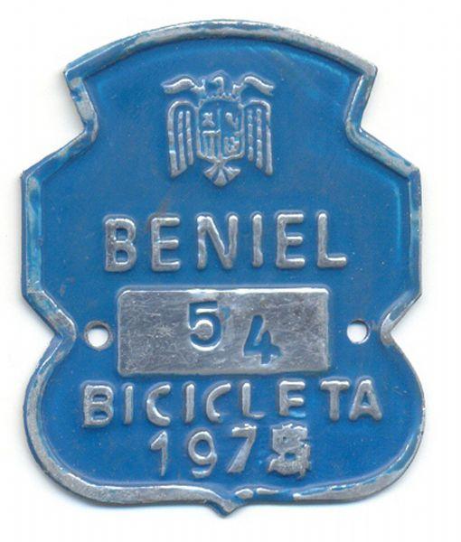 Placa de Matricula Bicicleta Beniel (Murcia) 1975 (España)