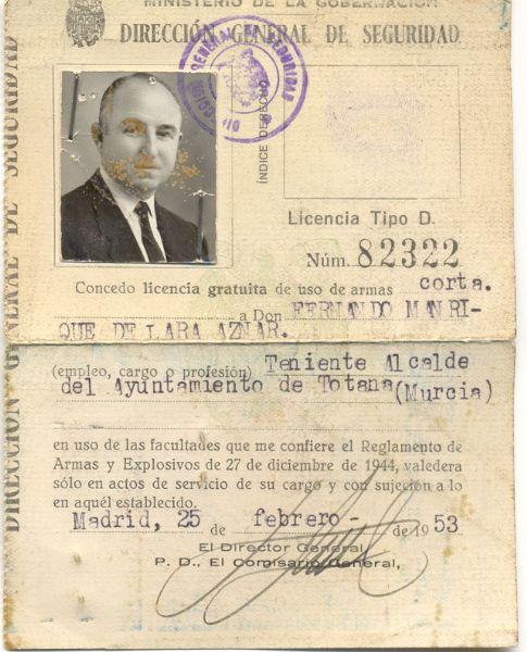 Licencia de Armas 1958