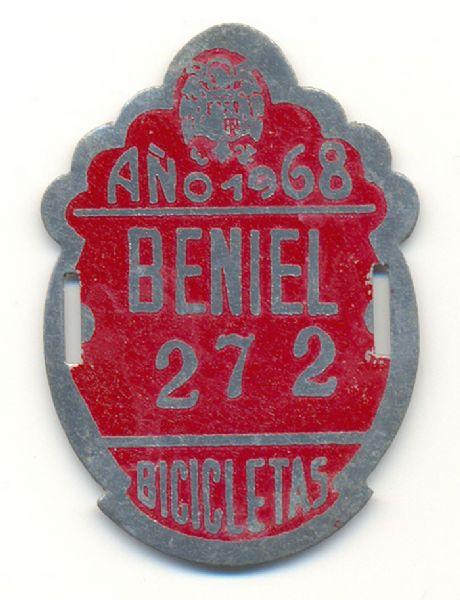 Placa de Matricula Bicicleta Beniel (Murcia) 1968 (España)