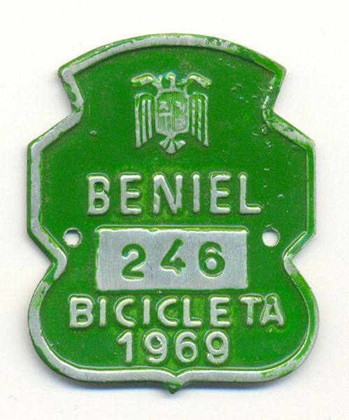 Placa de Matricula Bicicleta Beniel (Murcia) 1969 (España)