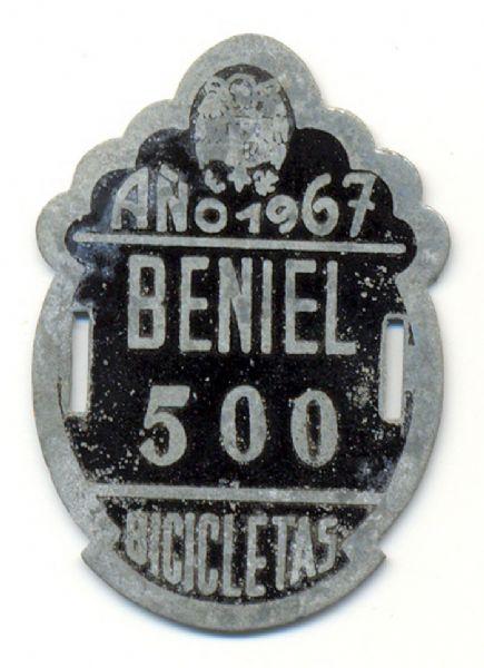 Placa de Matricula Bicicleta Beniel (Murcia) 1967 (España)