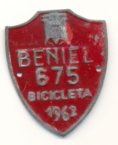 Placa de Matricula Bicicleta Beniel (Murcia) 1962 (España)