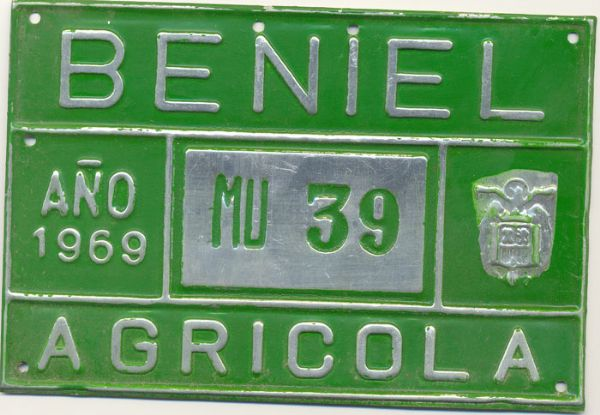 Placa de Matricula Agricola Beniel (Murcia) 1969 (España)