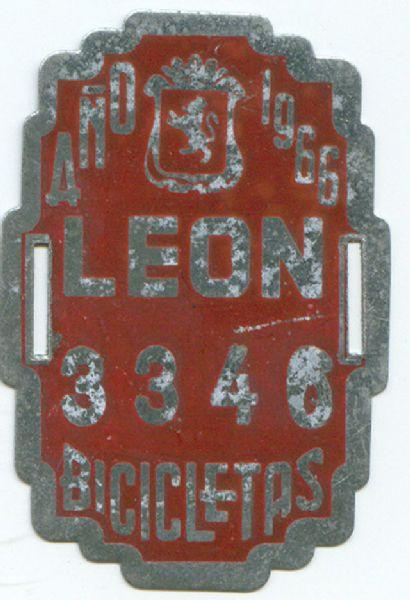 Placa Matricula Bicicleta de Leon 1966 (España)