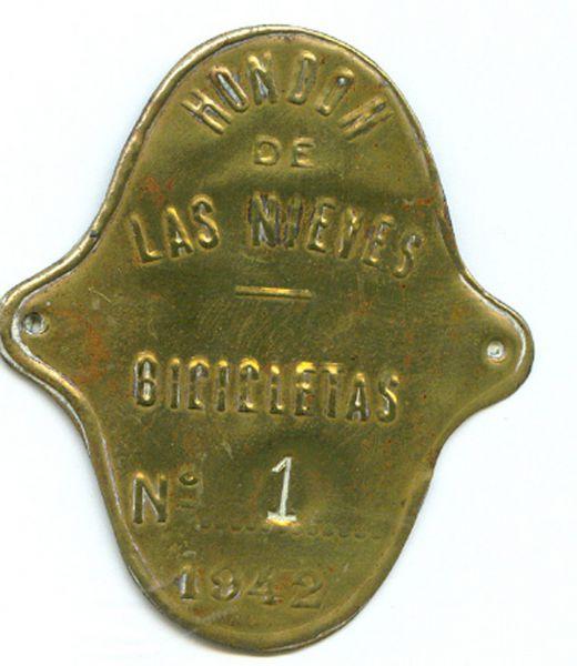Placa de Matricula de Bicicleta de Hondon de las Nieves (Alicante) 1942