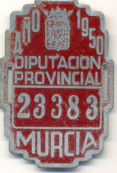 Placa Identificativa Matricula Diputacion Provincial Murcia 1950