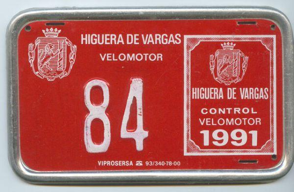 Placa de Matricula de ciclomotor de Higuera de Vargas (Badajoz)