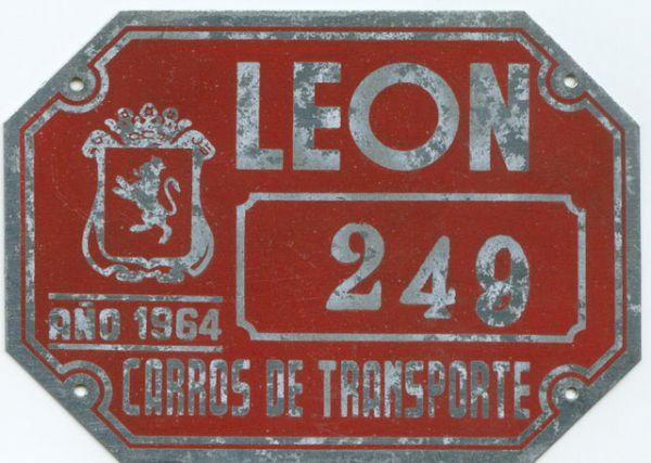 Placa de Matricula de Carros de Transporte 1964 (Leon)