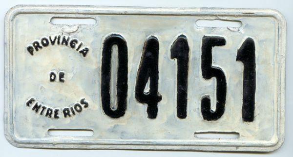 Placa Matricula Motocicleta de Entre Rios (Argentina)