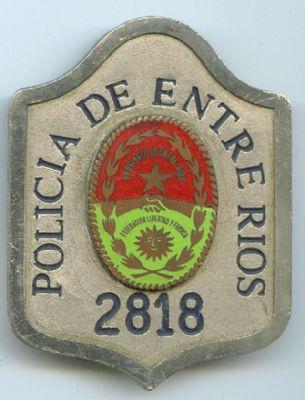 Placa Metálica Policia Entre Rios (Argentina)
