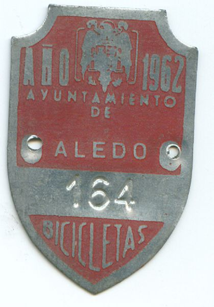 Matricula de Bicicleta de Aledo (Murcia) 1962