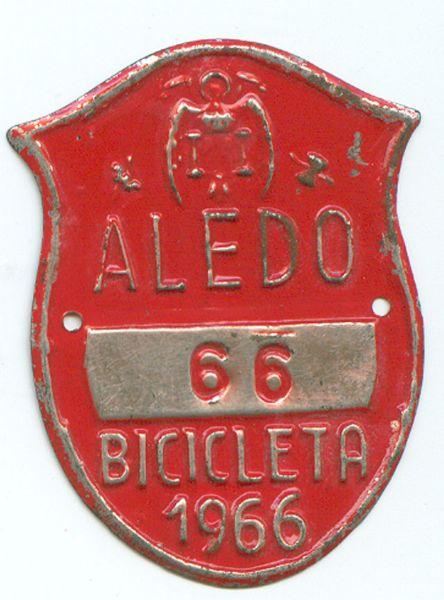 Matricula de Bicicleta de Aledo (Murcia) 1966