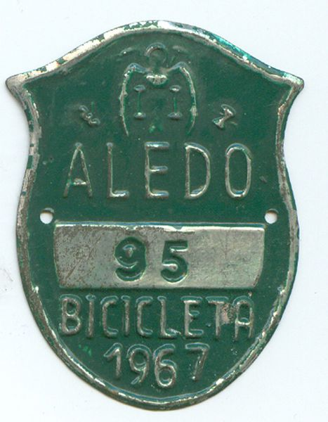 Matricula de Bicicleta de Aledo (Murcia) 1967