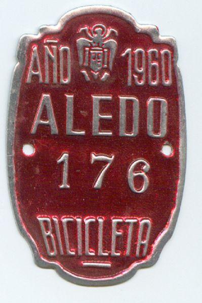 Matricula de Bicicleta de Aledo (Murcia) 1960