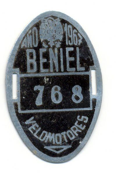 Placa de Matricula de Velomotor de Beniel 1967