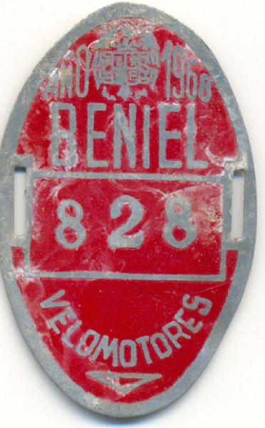 Placa de Matricula de Velomotor de Beniel 1968