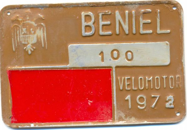 Placa de Matricula de Velomotor de Beniel 1972