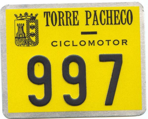 Placa de Matricula de Ciclomotor Torre Pacheco (Murcia)
