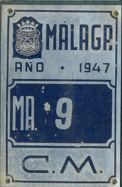 Placa de matrícula de Carro 1.947 (Malaga)