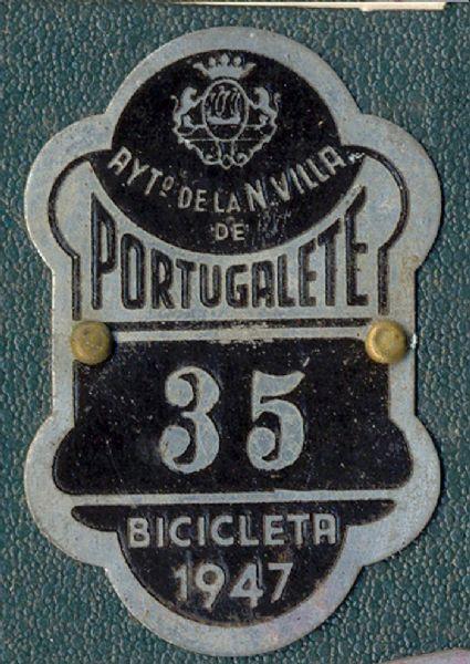 Placa de matrícula de Portugalete  1.947 (Vizcaya)