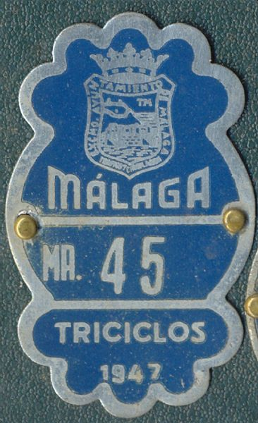 Placa de matrícula de Triciclo 1.947 (Malaga)