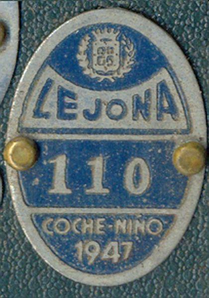 Chapa de Matricula Coche-Niño  Lejona (Vizcaya) 1947