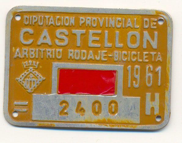 Placa de matrícula de Castellon  1.961