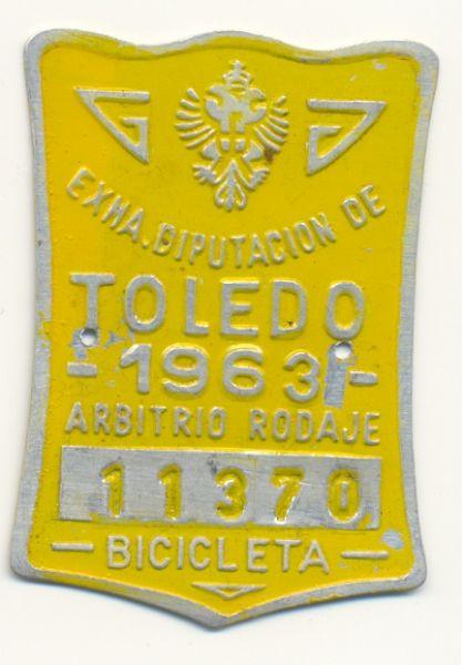 Placa de matrícula de Toledo  1.963