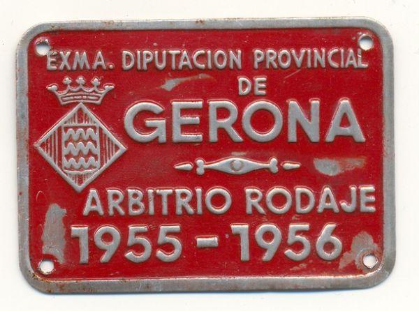 Placa de matrícula de Gerona  1.955-1956