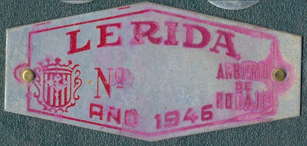 Placa de matrícula de Lerida  1.946