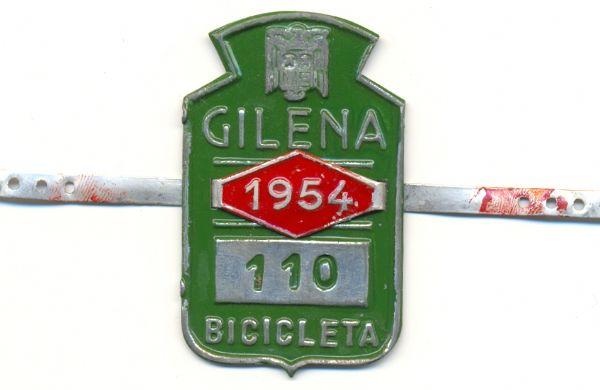 Placa de matrícula de Gilena  1.954 (Sevilla)