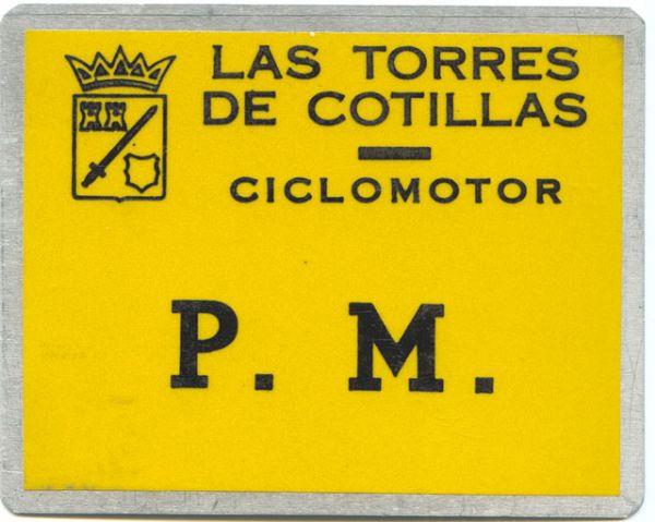 Placa Matricula Ciclomotor antigua de las Torres de Cotillas (Murcia)