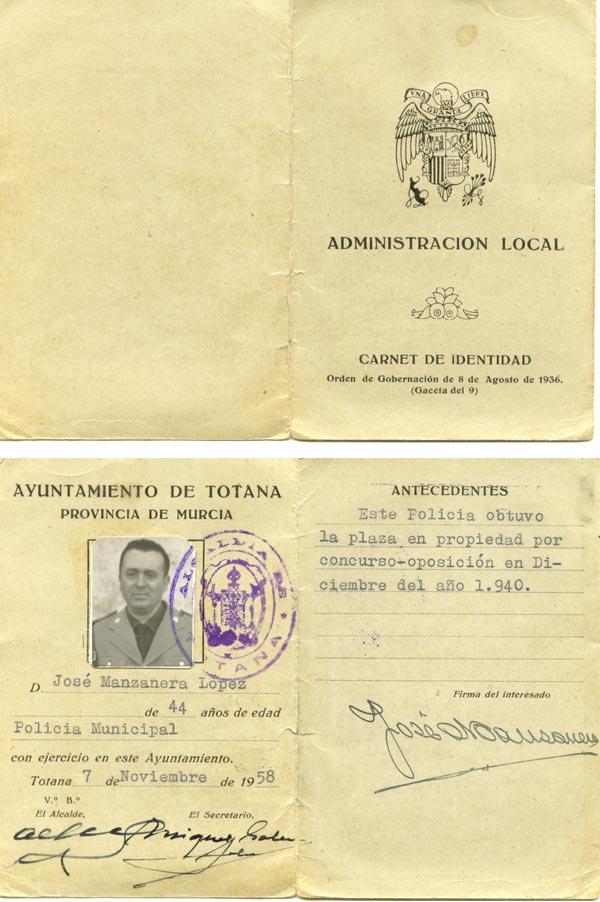 Carnet profesional de Manzanera
